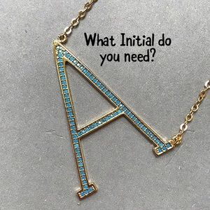 Turquoise Crystal Large Sideways Initial Necklace